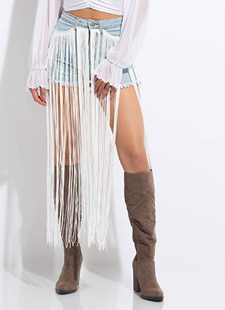 Country Star Long Fringe Denim Shorts