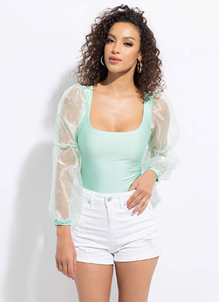 Sheer Squad Organza Puff Sleeve Crop Top