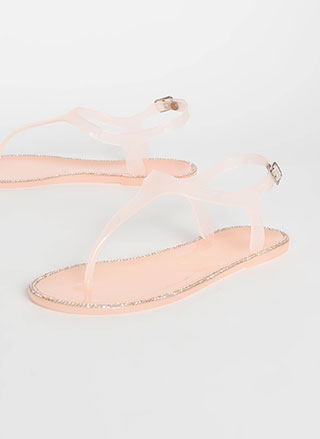 Jeweled Touch Jelly T-Strap Sandals