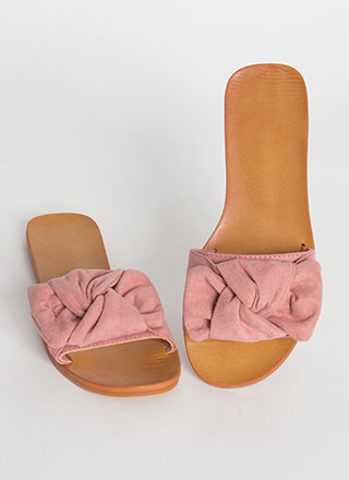 Bow For It Faux Suede Slide Sandals