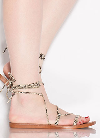 Boho Girl Faux Snake Lace-Up Sandals