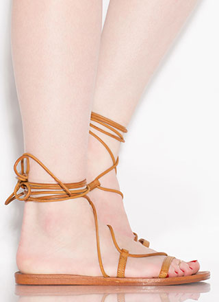 Boho Girl Faux Leather Lace-Up Sandals