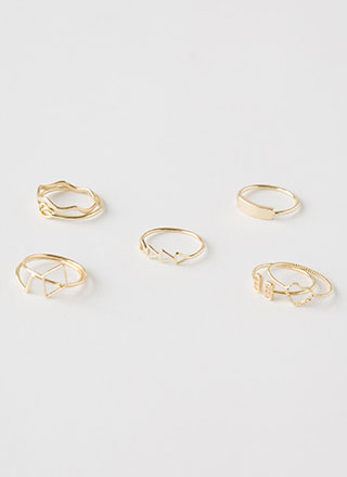 Stacked Delicate Eight-Ring Set