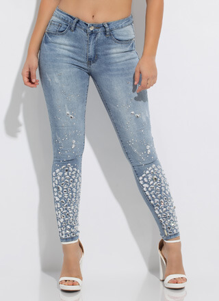 Crystal Clear Jeweled Skinny Jeans