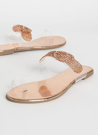 Jewel Quest Clear Metallic Sandals