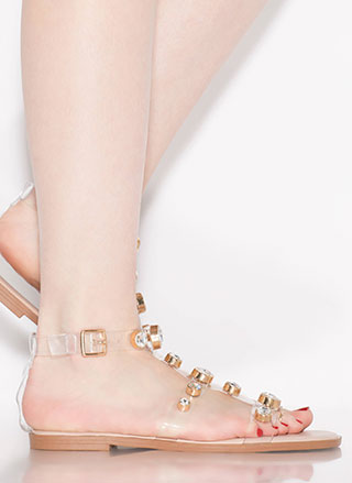 Glow Up Jeweled Illusion Sandals