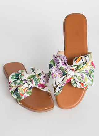 It's A Bow-tiful Day Print Slide Sandals
