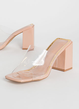 Around The Block Glossy Clear Mule Heels