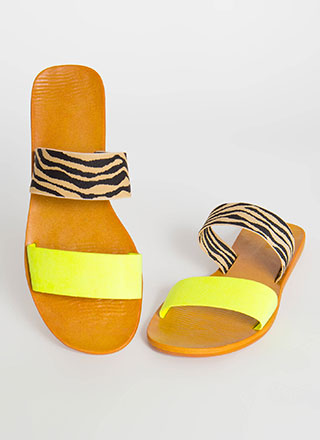 Beach Comber Tiger Strap Slide Sandals