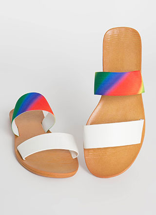 Beach Comber Rainbow Strap Slide Sandals