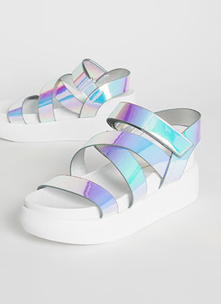 Shine On Iridescent Strap Wedge Sandals