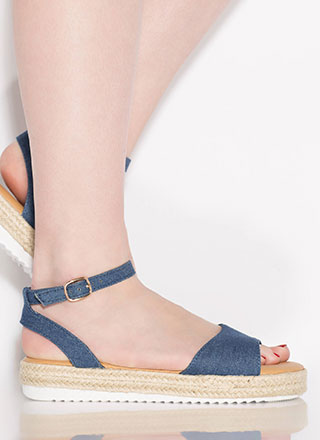 Sun's Out Braided Denim Sandals