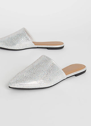 Dear Diary Jeweled Metallic Mule Flats