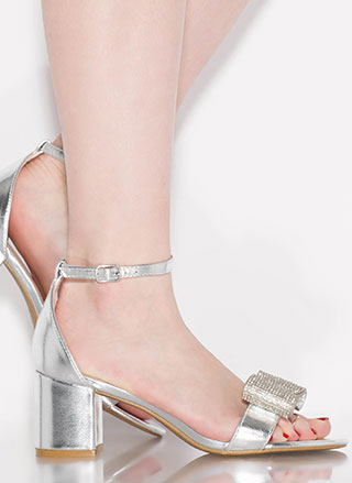 Bow Go Jeweled Metallic Block Heels