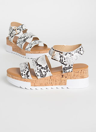 Weekender Snake Print Wedge Sandals