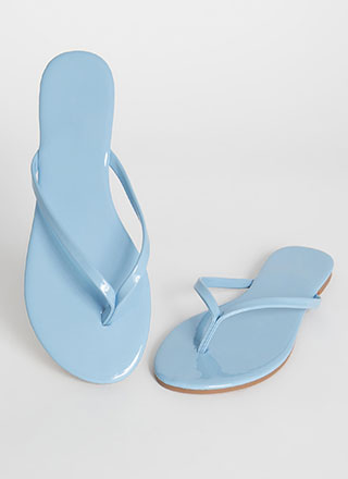 Gloss Factor Faux Patent Thong Sandals