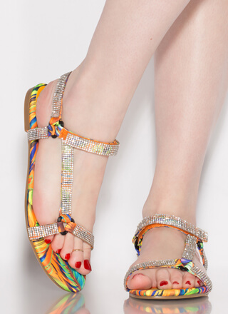 Harness It Jeweled Tropical Sandals