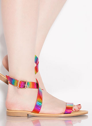 Shine Away Strappy Iridescent Sandals