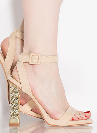 Chain Reaction Chunky Strappy Heels