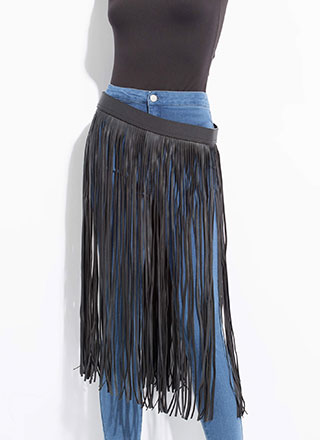 Cowgirl Chic Faux Leather Fringe Belt