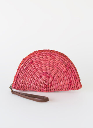 Wicker Fan Flat Woven Clutch