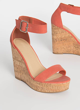 Cute Outfit Cork Platform Wedges