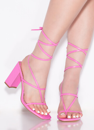 Thong Number Chunky Lace-Up Heels