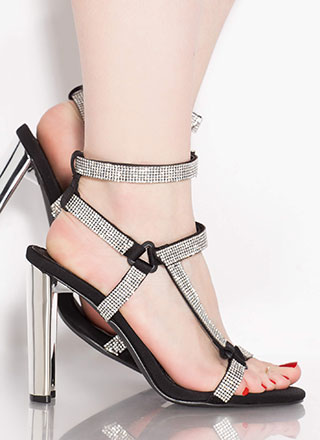 Glitz Attack Jeweled Caged Chunky Heels