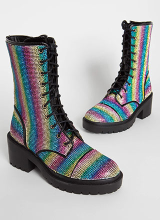 Rainbow Rhinestones Block Heel Booties