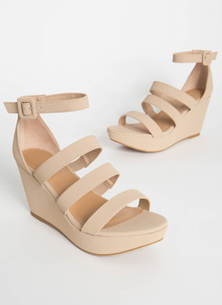 One Look Strappy Platform Wedges