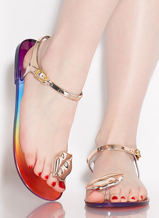 Mouth Off Rainbow Jelly Sandals