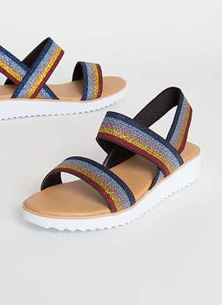 Beach Babe Striped Elastic Strap Sandals