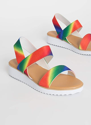 Beach Babe Rainbow Elastic Strap Sandals