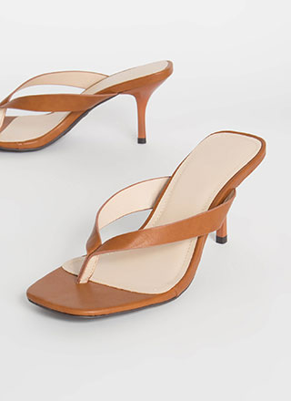 Flip-Flop Vegan Leather Thong Heels