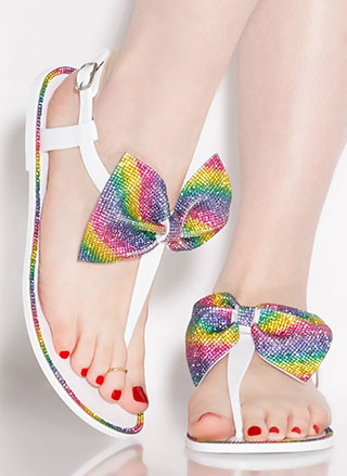Bow Pro Jeweled Jelly T-Strap Sandals