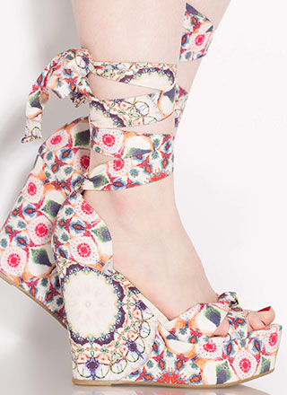 Follow The Pattern Lace-Up Print Wedges