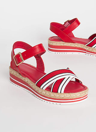 Fiesta Striped Braided Platform Wedges
