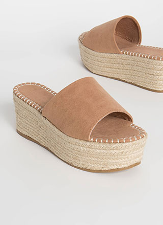 Let It Slide Faux Suede Wedge Sandals