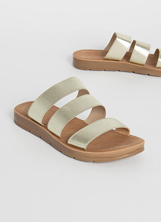 Three Guesses Banded Slide Sandals
