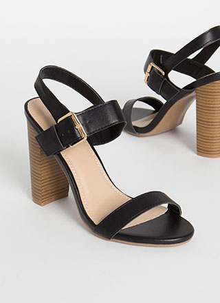 Out And About Strappy Chunky Heels