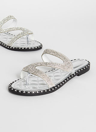 Special Slide Jeweled Metallic Sandals