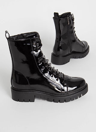 Tunnel Vision Faux Patent Combat Boots