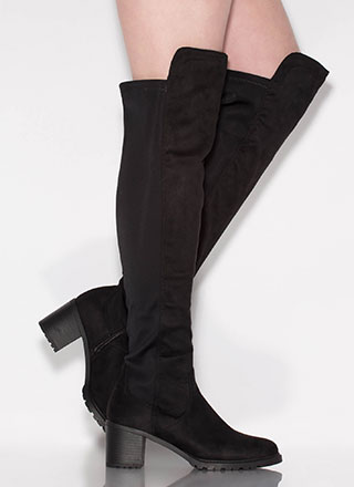 Best In Show Faux Suede Thigh-High Boots