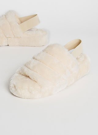 Work From Home Faux Fur Sandals
