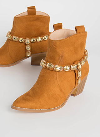Gemstone Cowgirl Strappy Jeweled Booties