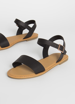 Open-Toe Weather Faux Leather Sandals