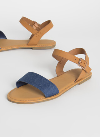 Open-Toe Weather Denim Strap Sandals