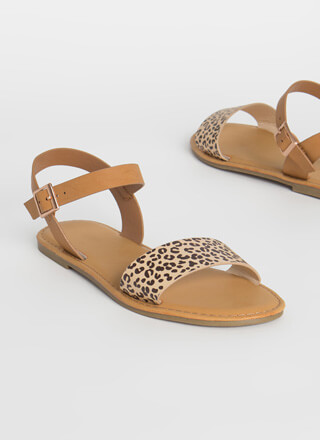 Open-Toe Weather Leopard Strap Sandals