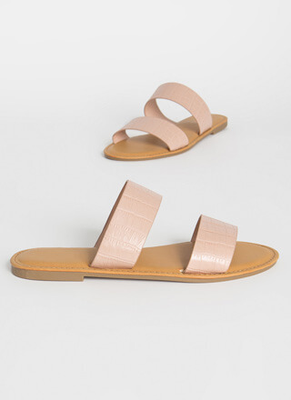 Sun Day Faux Crocodile Slide Sandals