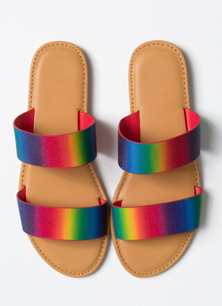 Sun Day Sparkly Rainbow Slide Sandals
